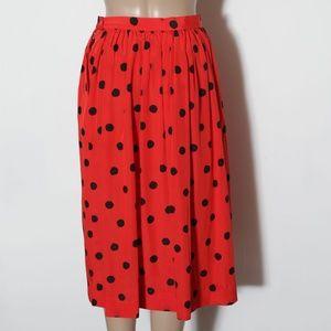 VTG Orange polka dot full skirt pockets 8 pinup